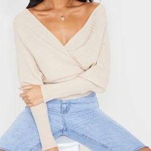 SALE prettylittlething stone wrap sweater